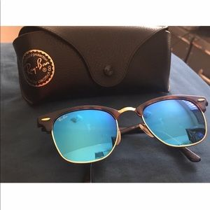 Clubmaster Flat Lenses Gold/Blue Mirror 51-21